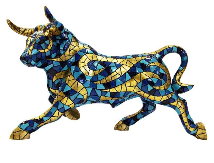 Gold and Blue Bull. Barcino Carnival Collection. 60 cm