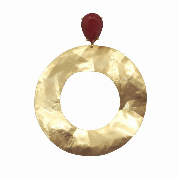 Golden Pleated Hoop Earrings with Red Drop