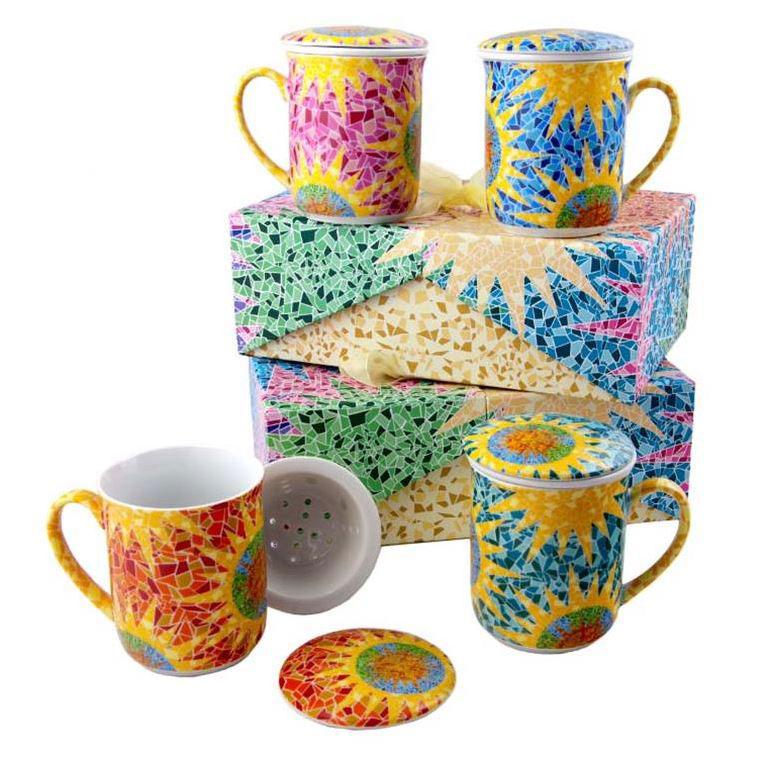 Set de 4 Mugs con Filtro Estilo Gaudi