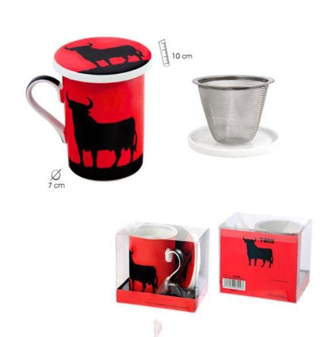 Set Mug con Filtro Metálico y Tapadera Toro Negro de Osborne