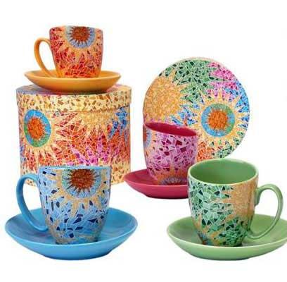Coffret 4 tasses à déjeuner Gaudi