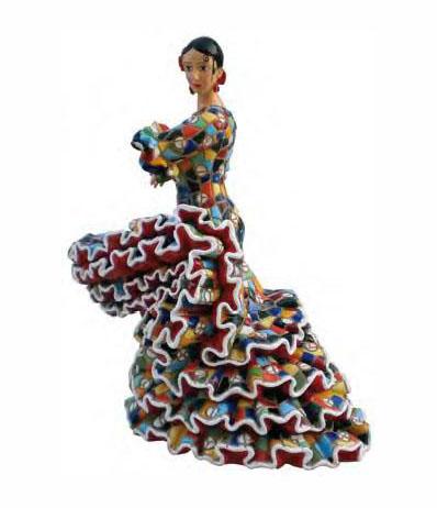 Flamenco dancer with multicoloured mosaic style dress. 13cm