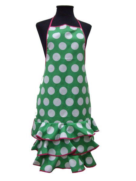 Tablier de Flamenca vert à pois blanc
