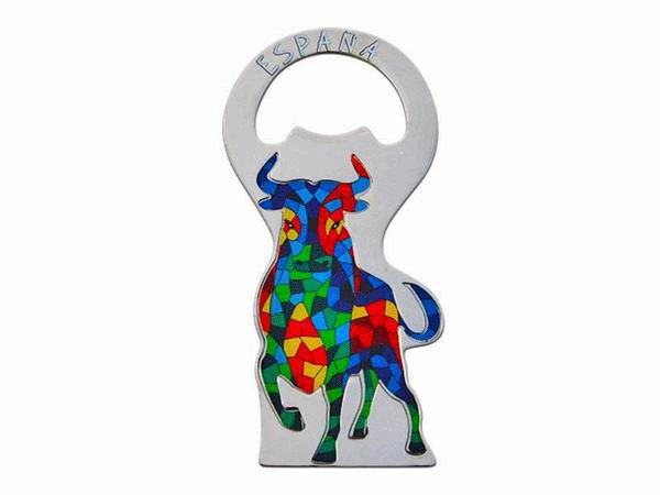 Gaudi-Style Mosaic Bull Bottle Opener with Magnet