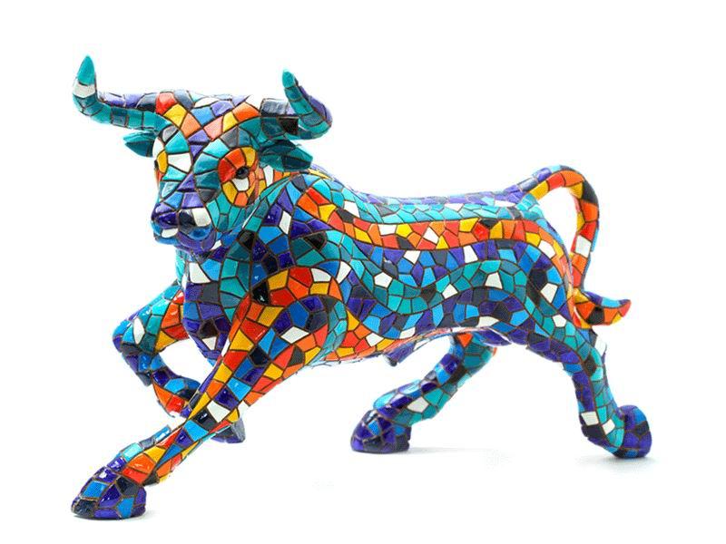 Blue Mosaic Bull By Barcino. 24cm