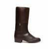 Valverde del Camino Greased Brown Campero Boots. Embroidered Upper.