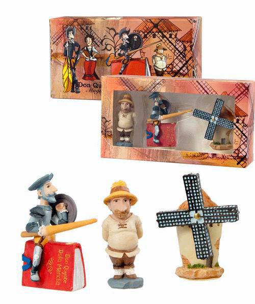 Don Quixote of La Mancha, Sancho Panza and A Windmill Set of 3 Magnets