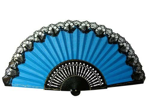 Small Flamenco Dance Fan With Lace. 44 cm X 25cm.