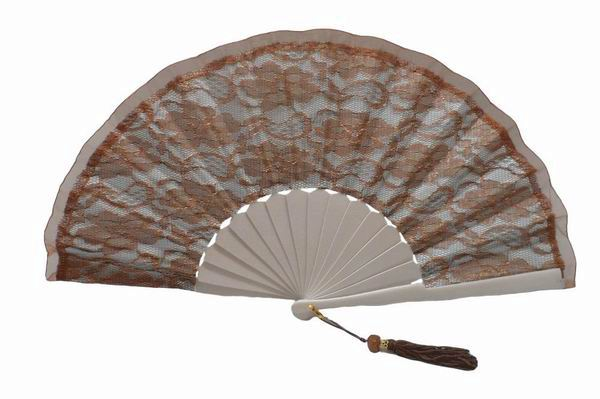 Light Silver Fabric and Golden Brown Lace Fan for Ceremonies