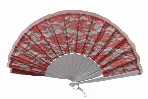 Red and Silver Double Fabric Fan for Ceremony