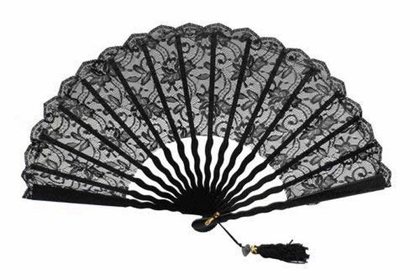 Ceremony Fan for Maid of honour with Black Lace