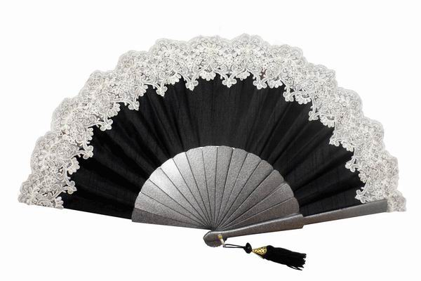 Black Satin and Silver Lace Party Fan