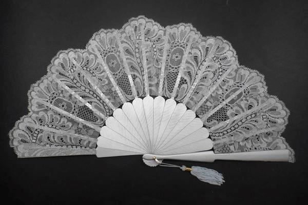 Silver Lace Fan for Ceremonies. Ref. 1337