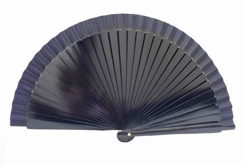 Plain navy blue wood and fabric fan