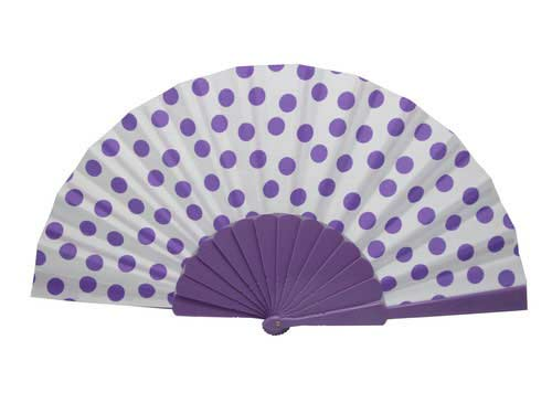 Polka Dots Fan With White Background And  Purple Dots