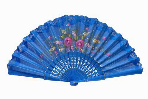 Hand painted fan with blue lace. ref. 150ENCJ