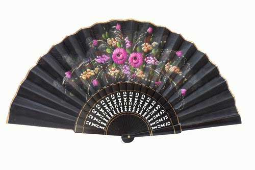Hand-painted black fan with golden rim. ref. 150