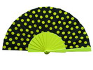 Polka Dots Fan With Black Background And Yellow Polka Dots