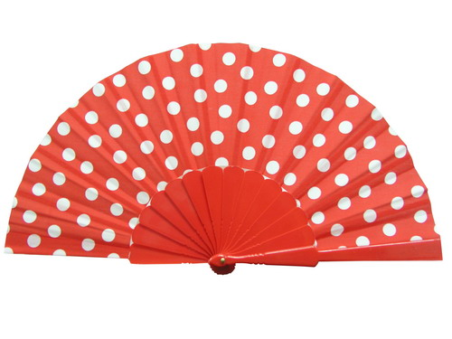 Ploka Dots Fan With Red Background and White Polka Dots