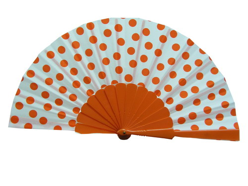 Polka Dots Fan With White Background And Orange Dots