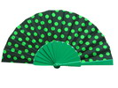 Polka Dots Fan With Black Background and Green Polka Dots