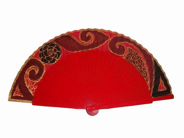 Red sycomore wood fan handpainted
