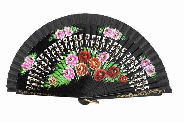 Openwork Black Fan with floral design on both sides Ref. 178