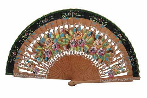 Two sides sycamore wood openwork fan