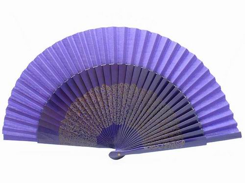 Purple sycamore wood laser engraved fan