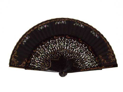 Wooden Fans for Ladies with Flowers ref. 4272NG