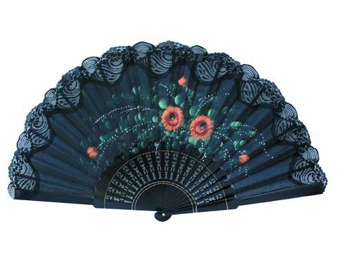 Hand Painted Fan With Lace ref. 152