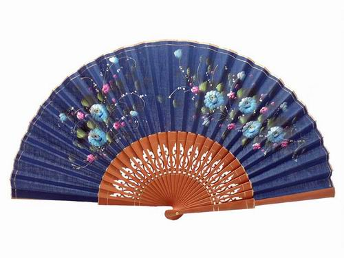 Navy Blue Lace Fan With Hand Painted Flowers And Polished Pear Tree Wood Ribs. 50X27cm