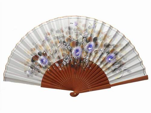 Beige Hand Made Fan With Painted Flowers and Polished Pear Tree Wood Ribs
