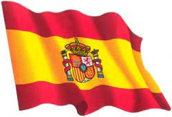 Waved Spanish flag. Stickers GRD
