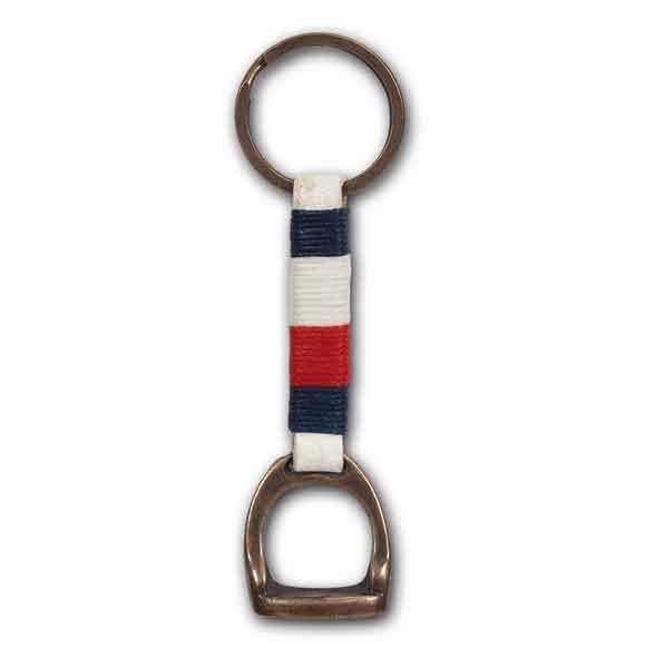 Porte clés étrier. Drapeau français sur cuir blanc