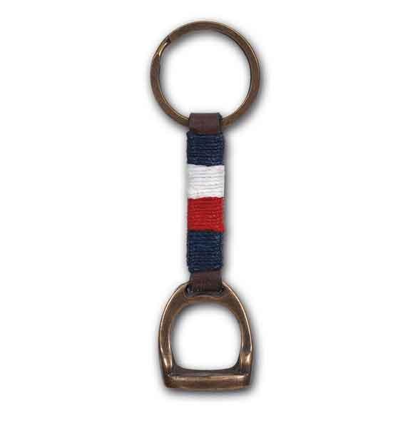 Porte clés étrier. Drapeau français cuir marron