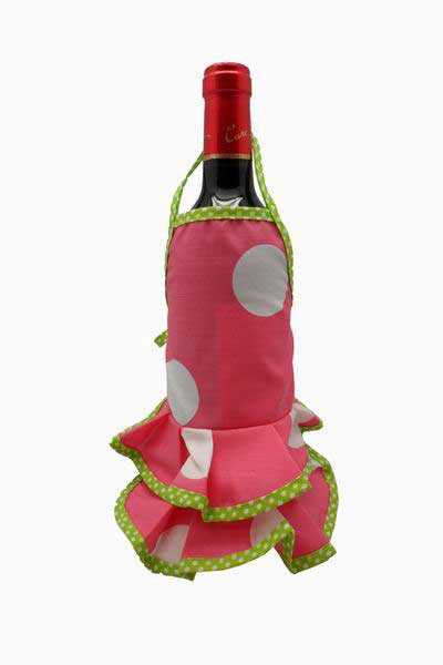 Fuchsia Flamenco Bottle Apron with White Dots
