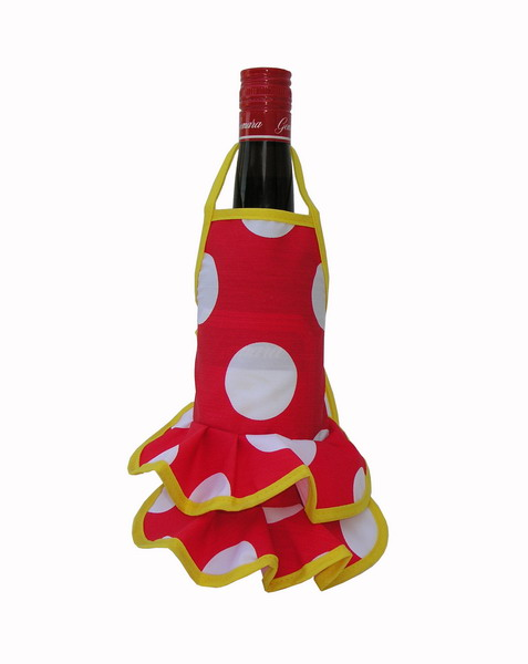Red Flamenco Bottle Apron with White Dots