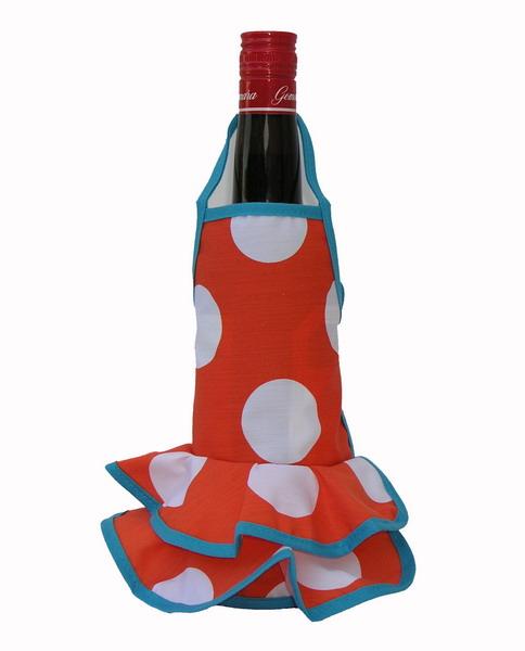 Orange Flamenco Bottle Apron with White Dots