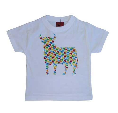 T-shirt for women. Osborne Bull with colours. White