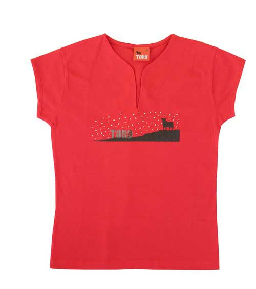 Osborne Bull t-shirt with stars for woman. Red