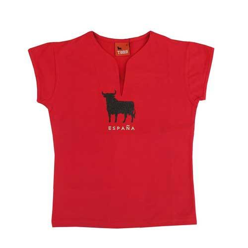 Glitter Osborne bull t-shirt for women. Red