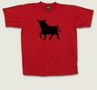 T-shirt rouge feu avec taureau noir