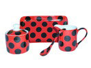 Sugar bowl Set, jug and tray with black polka dots and red background
