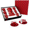 6 big cups black dots red background