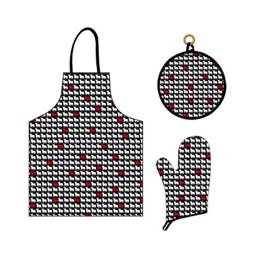 キッチン3点セット(エプロン&鍋つかみ&鍋敷き) Osborne ブラック&ホワイト&レッド