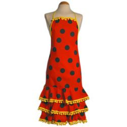 Red Flamenco Apron with Black Dots and ''Madroños''