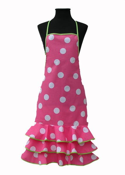 Fuchsia Flamenco Apron with White Dots
