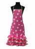 Fuchsia Flamenco Apron with White Dots