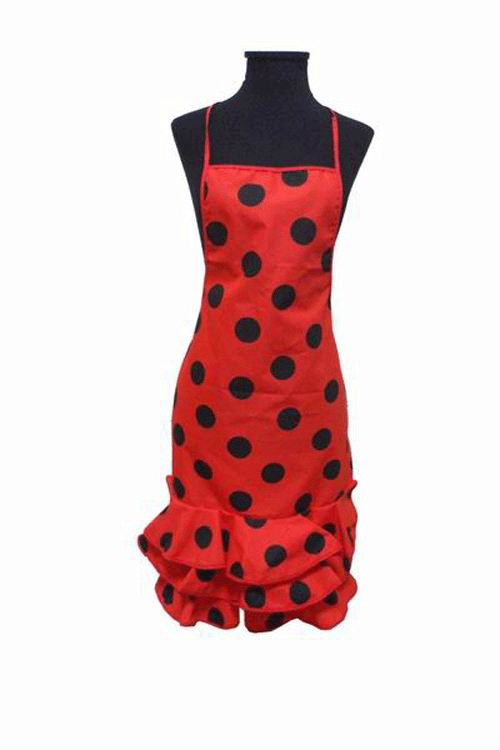 Deep Red Flamenco Kitchen Apron with Black Dots